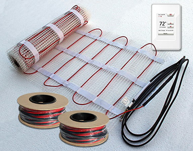 Floor heating cable, mat and thermostat.